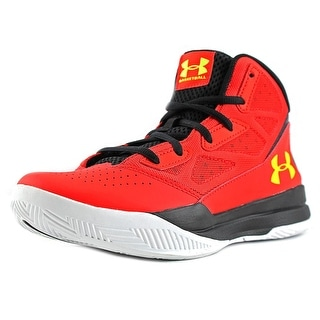 Under Armour BGS Jet Mid Youth Round Toe Leather Red Basketball Shoe
