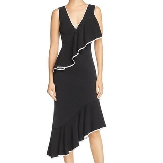 Talulah Black White Women Size Small S V-Neck Contrast Sheath Dress