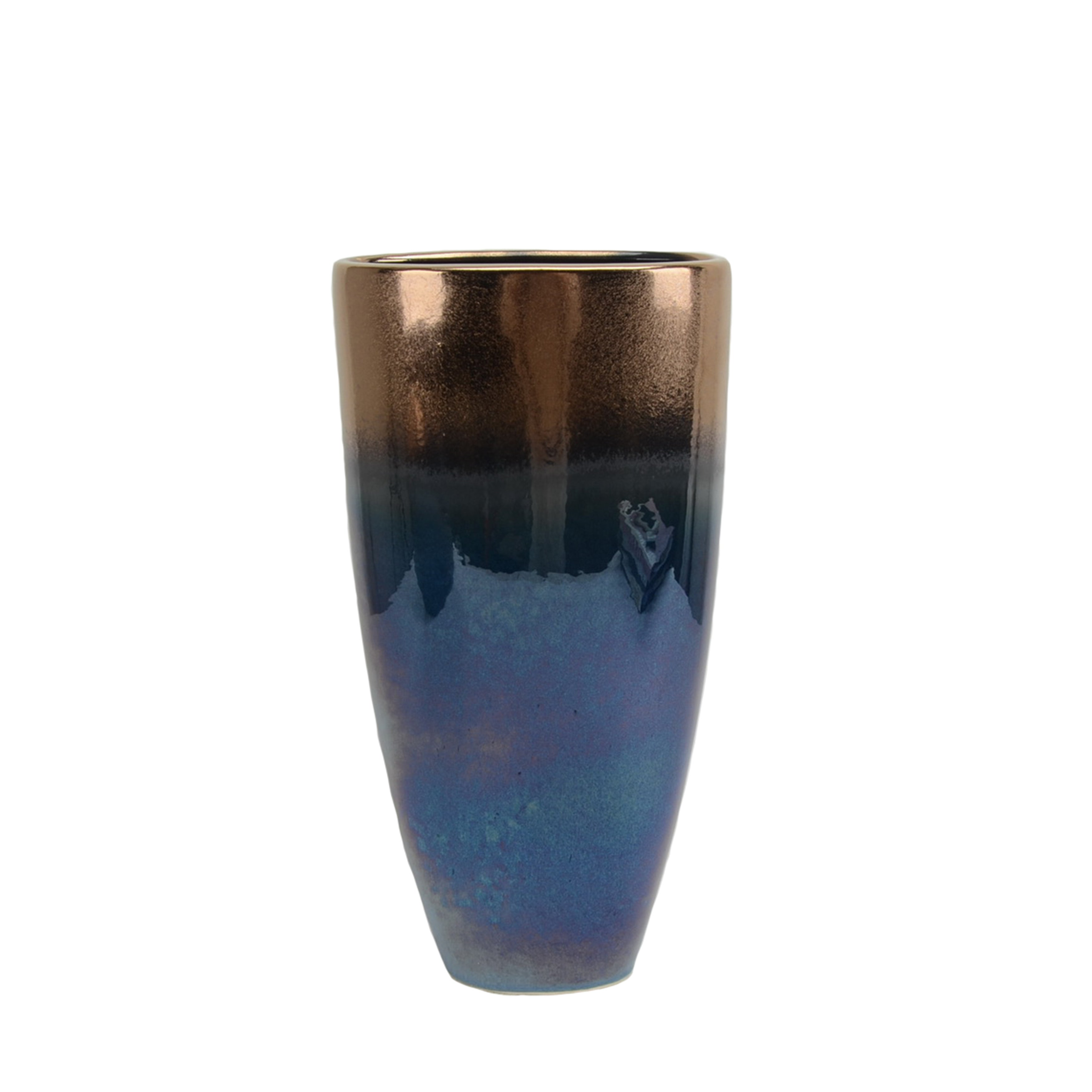 Ceramic Ombre Vase with Wide Top and tapered Bottom, Small, Copper and Blue