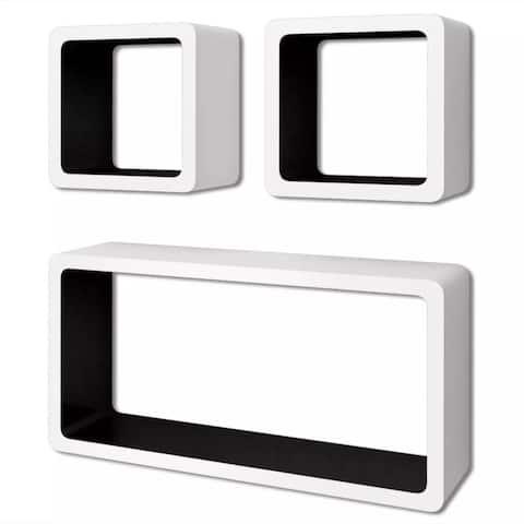 vidaXL 3 White-Black MDF Floating Shelf Cubes Book/DVD Storage