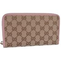 Gucci 363423 Beige Pink GG Guccissima Canvas Zip Around Wallet Clutch