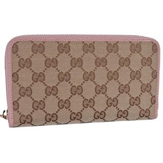 Gucci 363423 Beige Pink GG Guccissima Canvas Zip Around Wallet Clutch
