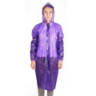 Plastic Dot Pattern Cover Water Resistant Dustproof Apron w Sleeve Pair Purple