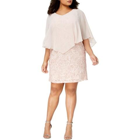 Connected Apparel Womens Plus Special Occasion Dress Soutache Capelet