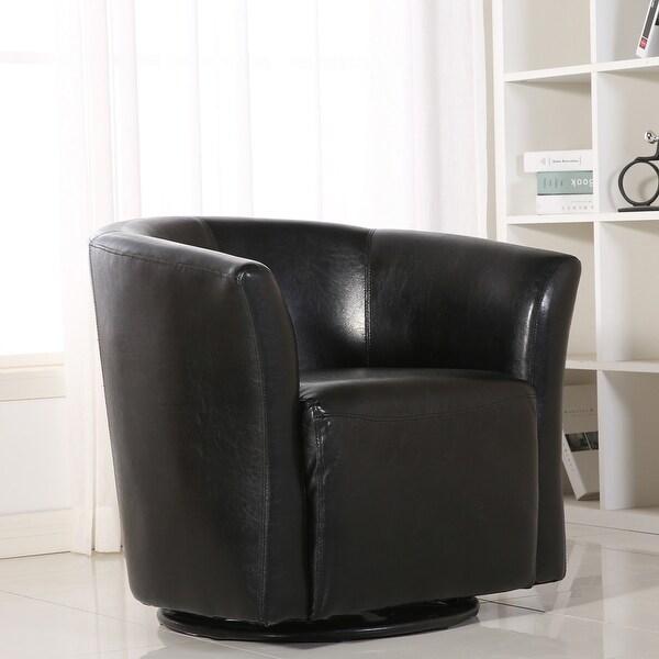 Belleze Contemporary Swivel Base Glider Barrel Upholstered ArmRest Pub Bar  Round Chair, Black