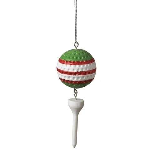 """5"""" Green Striped Golf Ball and White Tee Dangle Christmas Ornament - multi"""