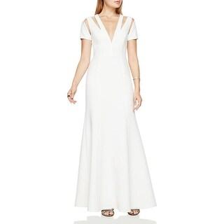 BCBG Max Azria Womens Estrella Evening Dress Cut Out V Neck