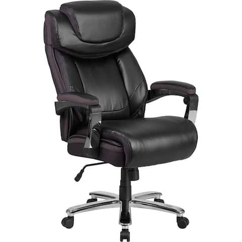 Aberdeen Big & Tall Black Leather Executive Swivel Chair, Wide Seat, Tilt-Lock