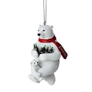 4.25 White Polar Bears with Coca-Cola® Bottles Christmas Ornament