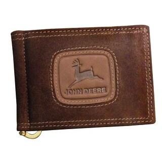 John Deere Western Wallet Mens Front Pocket Money Clip Brown 4077000 - One size