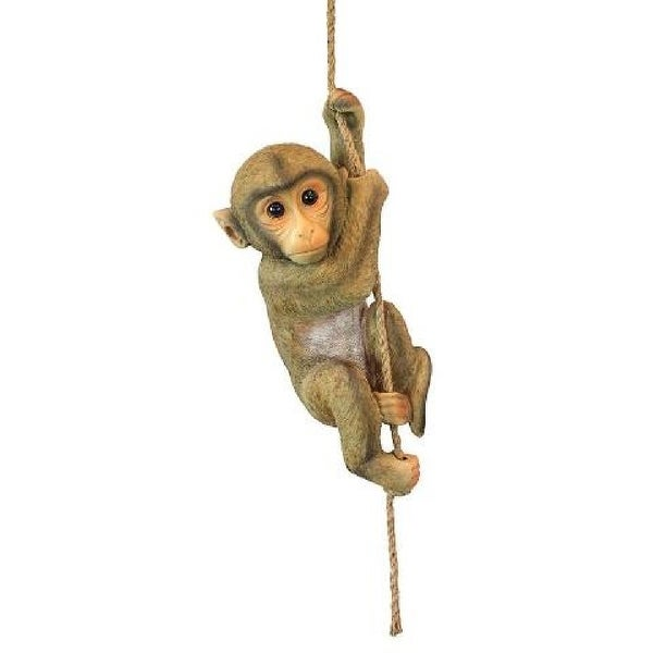 "16"" Hanging Chimpanzee Baby Monkey Statue on Rope - N/A"