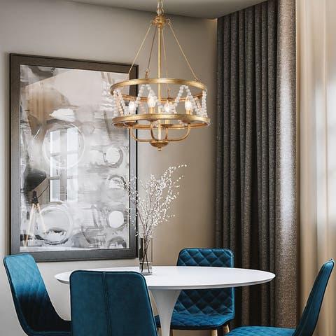 Modern Boho 4-light Brass Chandelier Wooden Beads Fixtures Lighting for Dining Room - D15.5'' x H85''