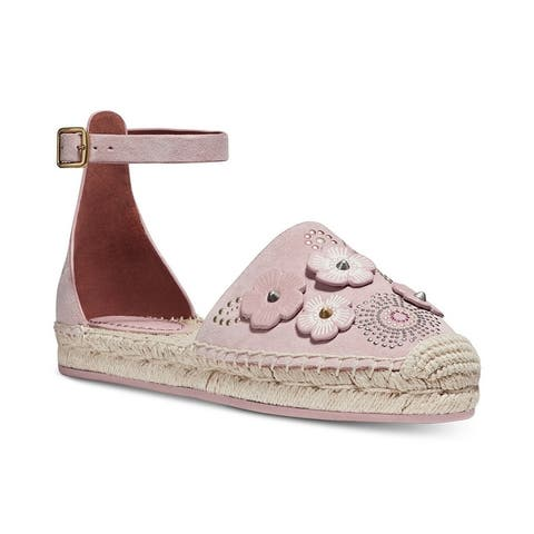 COACH Womens Astor Ankle-Strap Espadrille Flats
