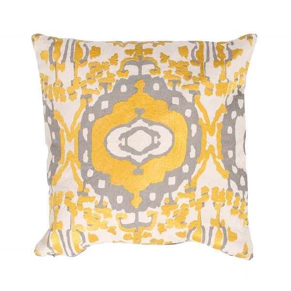 """18"""" Golden Yellow and Silvery Gray Abstract Decorative Throw Pillow"""