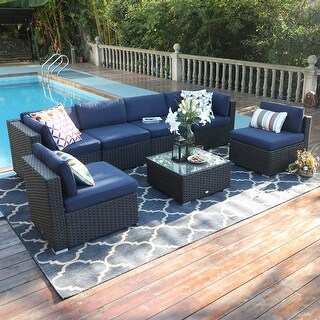 Link to Gariau 7-piece Outdoor Patio Rattan Sectional Sofa Set by Havenside Home Similar Items in Outdoor Sofas, Chairs & Sectionals