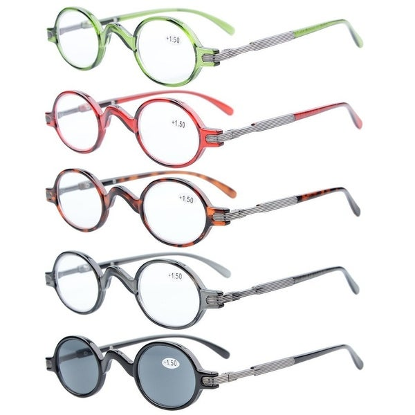381e7609aa25 5-pack Eyekepper Spring Temple Vintage Mini Small Oval Round Reading Glasses +0.0