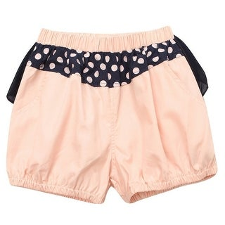 Richie House Little Girls Peach Navy Lace Bow Accent Shorts 3