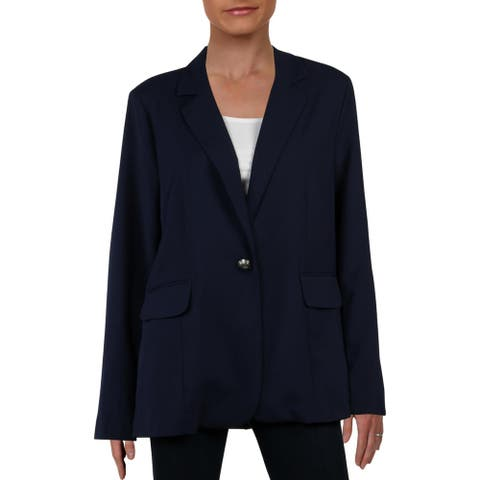 Aqua Womens Blazer One-Button Suit Seperate - Navy