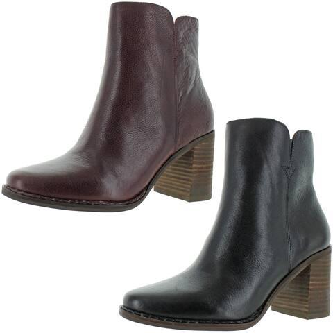 Lucky Brand Women's Nomi Leather Mid-Calf Stacked Block Heel Bootie Boot