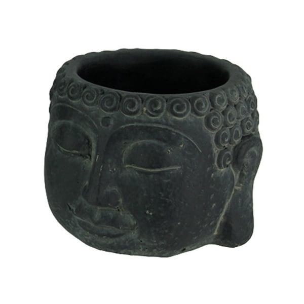Dark Grey Stone Finish Buddha Head Cement Planter Small - 6.5 X 8 X 8 inches