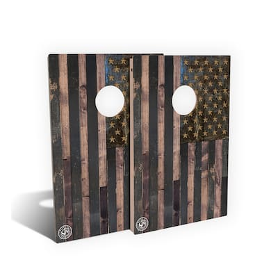 Rustic Wood American Flag Cornhole Board Set (Includes 8 Bags) - N/A