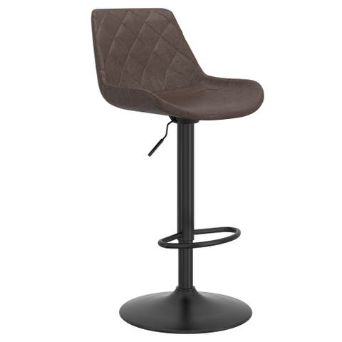 Modern Faux Leather & Metal Air Lift Stool, Set of 2 - N/A
