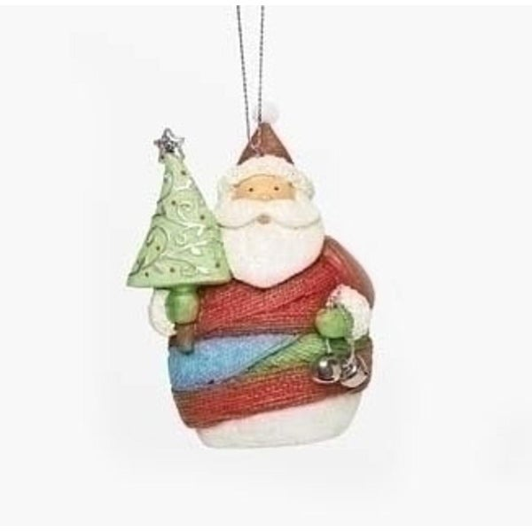 """4"""" Vibrant Colorful Striped Yarn Wrapped Santa Claus with Tree Christmas Ornament"""