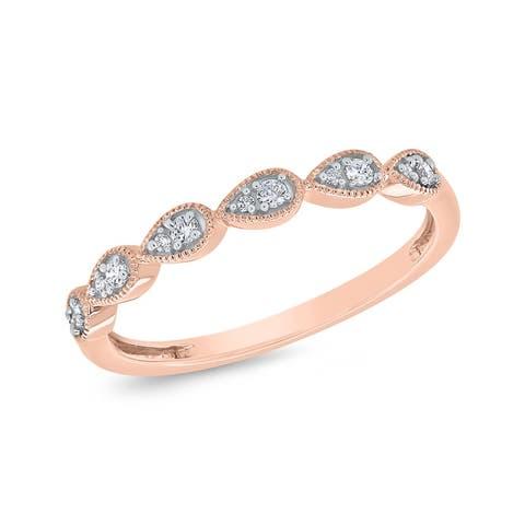 10K Rose Gold 1/10ct TDW Diamond Milgrain Band (I-J, I1)