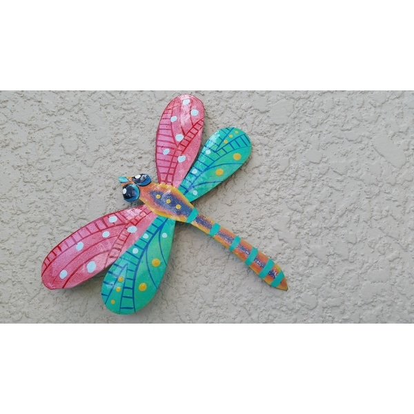 Metal U0027Pink Dragonflyu0027 Wall Art , Handmade In Haiti   Free Shipping On  Orders Over $45   Overstock.com   12015585