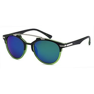 Mechaly Square Style Sunglasses with Black & Green Frame & Blue Mirror Lens