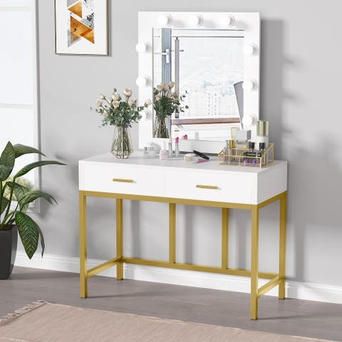 Vanity Table with Lighted Mirror, Makeup Desk with 2 Drawers