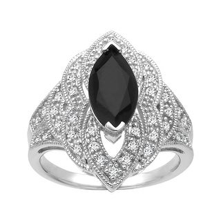 1 5/8 ct Onyx and 1/4 ct Diamond Ring in Sterling Silver - Black