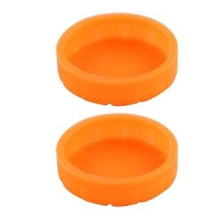 Home KTV Rubber Microphone Battery Bottom Cover Orange 31mm Inner Dia 2pcs