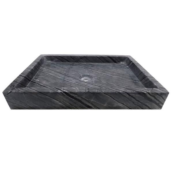 Eden Bath Rectangular Vessel Sink - Wooden Black Marble