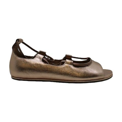 Gentle Souls Womens Lark Leather Open Toe Ankle Strap Slide Flats