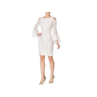 Xscape Womens Cocktail Dress Lace Cold Shoulder