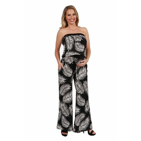 24seven Comfort Apparel Strapless Maternity Jumpsuit with Pockets