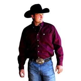 Cinch Western Shirt Mens Long Sleeve Square Button Burgundy