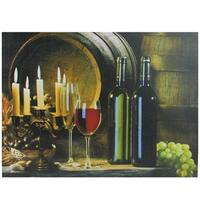 """LED Lighted Flickering Candles and Wine Canvas Wall Art 11.75"""" x 15.75"""" - Green"""