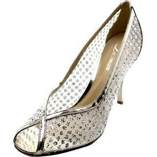 Delman Anika Women  Peep-Toe Canvas  Heels
