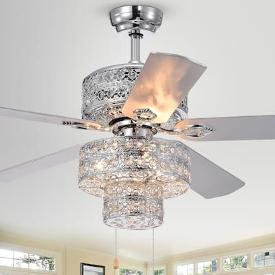 Empire Trois 52-inch Silver Chandelier Ceiling Fan with 2 Blade Colors