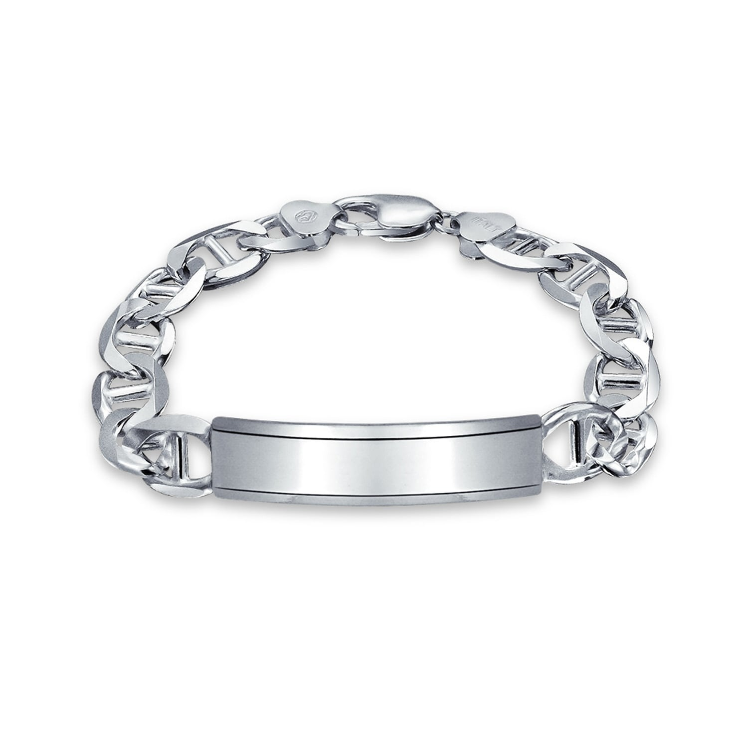 925 Sterling Silver Engravable Figaro I.D Chain Bracelet Made In Italy