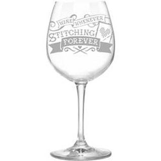Wine Whenever/Stitching Forever - Stitch Happy Wine Glass In Box 12.75Oz