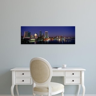Easy Art Prints Panoramic Images's 'Buildings Lit Up At Night, Jacksonville, Florida, USA' Premium Canvas Art
