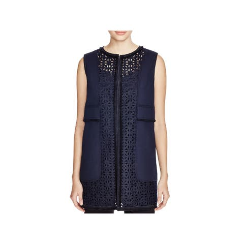 Elie Tahari Womens Veda Casual Vest Crochet Trim Leather Trim