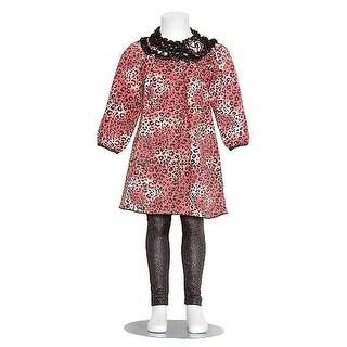 GiGi Girls 2T Pink Black Sparkle Cheetah Print Top Leggings Outfit