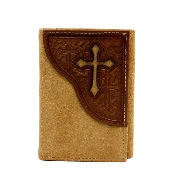 Nocona Western Wallet Men Cross Leather Tri-fold Medium Brown
