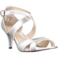 CC35 Pollyan Criss Cross Ankle Strap Sandals, White - 8.5 us