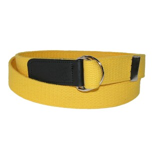 CTM® Cotton Plus Size Web 1 1/4 Inch Belt with Double D Ring Buckle (Option: Yellow)