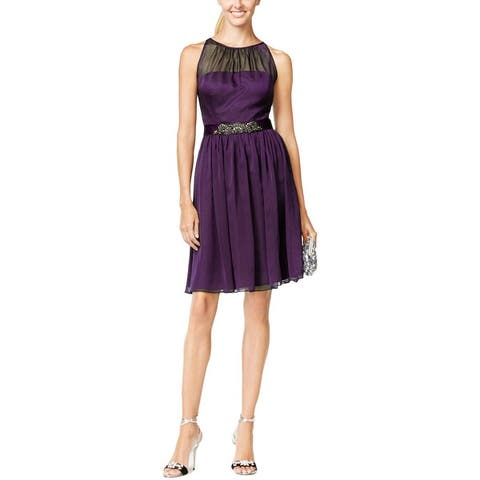 Adrianna Papell Womens Cocktail Dress Chiffon Embellished